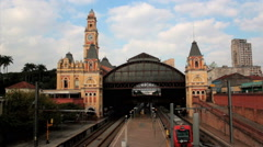 Trains arriving at the Light Station railway Light, Sao Paulo, Brazil Stock Footage