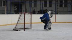 Ice hockey goalkeeper Stock Footage