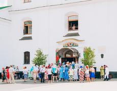 Believers out of the cathedral of the holy spirit in minsk Stock Photos