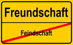 German sign city limits, symbolic image for going from enmity to friendship Stock Photos