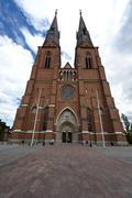domkyrkan cathedral of uppsala, sweden, scandinavia, europe - stock photo