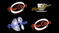 Now open signs on black Stock Illustration