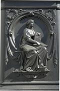 scculpture on a plinth, monument gottfried wilhelm leibniz, leipzig, saxony,  - stock photo