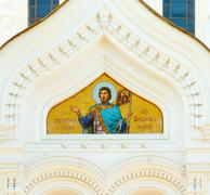 fresco above entrance in alexander nevsky cathedral, an orthodox cathedral ch - stock photo