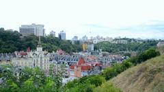 Urban city with hills landscape, kiev, Stock Footage