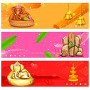 Banner for Ganesh Chaturthi Stock Illustration
