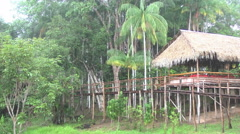 Amazon rain at jungle lodge Stock Footage