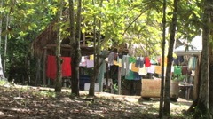 Amazon laundry at jungle lodge  Stock Footage
