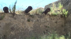 AGIA MAVRA. Group of guns used for defense in medieval fortresses. - stock footage