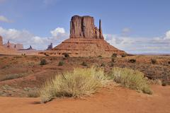 West mitten butte, multi-layered red sandstone, monument valley navajo nation Stock Photos