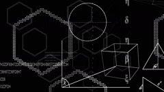 Math equations and shapes on black background - stock footage