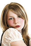 Stock Photo of young girl, blonde, long hair, teenager, portrait