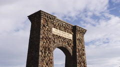 Yellowstone National Park Entrance Arch Time Lapse Stock Footage