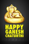 Lord Ganesha made of gold for Ganesh Chaturthi Stock Illustration