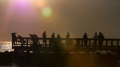 Crabbing at Sunset on Dock (slow motion) Stock Footage