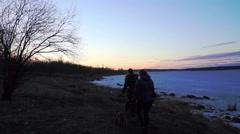 Sunset at Onega lake shore, Petrozavodsk Stock Footage