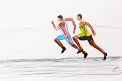 Stock Illustration of two runners, track and field athletics, drawing by the artist gerhard kraus,