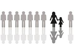 row of grey male pictogram figures with a single black female figure with a c - stock photo