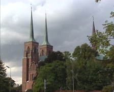 Roskilde Cathedral - two towers flanking the west front entrance Stock Footage