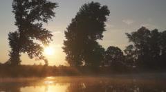 Mist over the water, sun Stock Footage
