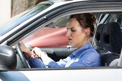 Stock Photo of woman late for work