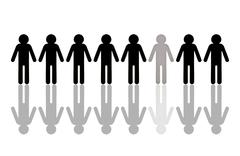 Row of black male pictogram figures, with a single grey figure, symbolic imag Stock Photos