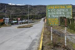 Chilean street sign on the carretera austral, ruta ch7 road, panamerican high Stock Photos