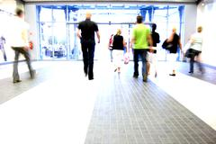 shopping abstract. people rush motion blurred - stock photo