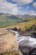 mountain stream in blakkådal, blakkadal valley, saltfjellet-svartisen nation - stock photo