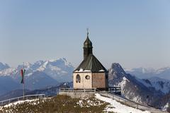 wallbergkirche, heilig kreuz church on mt wallberg, mountains zugspitze, ross - stock photo