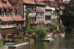 klein-venedig, little venice, and regnitz river, bamberg, upper franconia, fr - stock photo