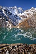 View over gruensee lake, during the ascent to hinterer eggenspitz mountain in Stock Photos