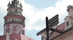 Krumlov castle tower Stock Footage