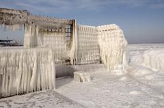 Icy pier, frozen black sea, a rare phenomenon, last time it occured in 1977,  Stock Photos