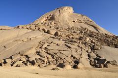 huge granite dome at tehenadou, adrar n'ahnet, algeria, sahara, north africa - stock photo