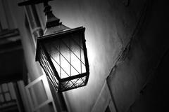 retro street lamp shining at night - stock photo