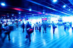 railway station rush. people motion blur - stock photo