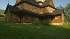 Ukrainian national church. Carpathians village Krivorivnya Stock Footage