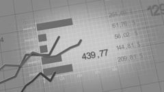 Growing charts animation black-white Stock Footage