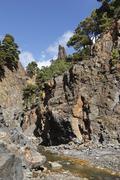 Rio almendro amargo river and roque de idafe, caldera de taburiente national  Stock Photos