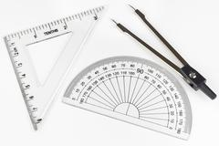 ruler, goniometer, compasses - stock photo