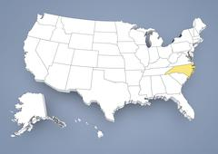 north carolina, nc, highlighted on a contour map of usa, united states of ame - stock illustration