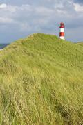 lighthouse of list ost on the sylt peninsula of ellenbogen, sylt, north frisi - stock photo