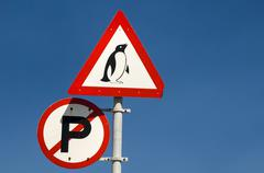 warning sign, penguins, cape agulhas, western cape, south africa, africa - stock photo