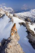 Peaks of monte cernera and monte civetta from col galina, dolomites, italy, e Stock Photos