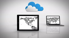 Media devices showing cog map under clouds Stock Footage