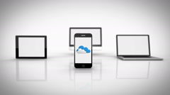 Stock Video Footage of Media devices showing cloud computing graphic with wifi symbol