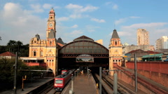 Beautiful train station, Estacao Luz, Sao Paulo, Brazil - 19th Century building Stock Footage