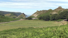 Valley of the rocks in north devon england Stock Footage