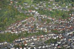 Aerial view of biedenkopf with the protestant?lutheran church and lahntal val Stock Photos